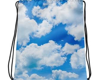 Prince Vaporwave Aesthetic Blue Cloud Drawstring Backpack Women Pastel Goth Fairy Kei Soft Grunge Kawaii Clothing Harajuku Retro Rave