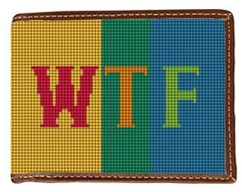 Colorful Expression WTF Needlepoint Wallet