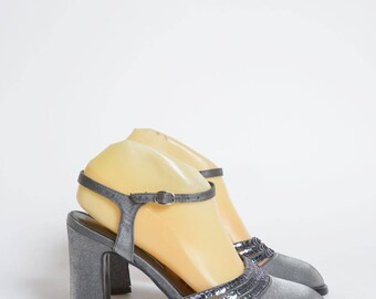 Vintage 90's Silver Chunky Heel Shoes with Sequins