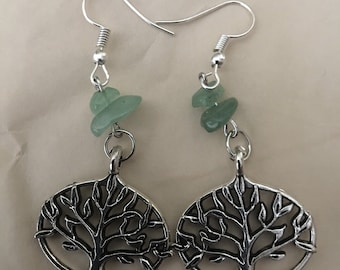 Tree of Life Earrings with Green Aventurine Gemstone Chips
