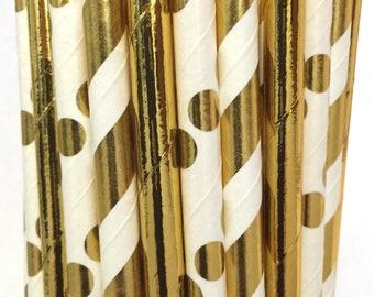2.785 US Shipping -Gold Foil Paper Straws-  Gold Straws- Cake Pop Sticks - Drinking Straws - New Years Eve Straws