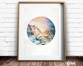 Mountain Print,  Mountain Photo, Snowy Mountain, Printable Art, Moody Landscape, Landscape Photo, Circle Photo, Round photo, Circle crop,