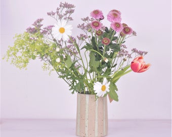 Vase Mint Striped-flower vase mint strips-beige with spots-country house style