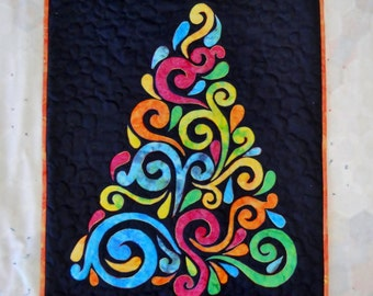 Neon Fiber Art Tree Wall Hanging in Rainbow Colors