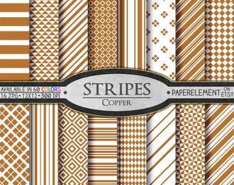 Copper Stripe Digital Paper Set for Scrapbooking - Printable Backgrounds - Instant Download