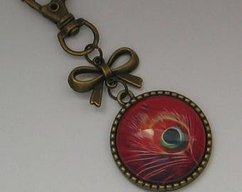 Key ring 25mm cabochon jewel * Peacock feather *.