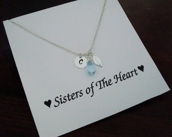 Blue Topaz with Letter Initial & Leaf Silver Necklace ~Personalized Jewelry Gift Card for Sister, Best Friend, Sister in Law, Bridal Party
