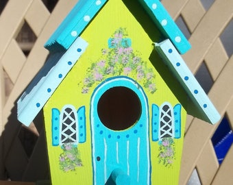 Medium Green & Turquoise Birdhouse #279