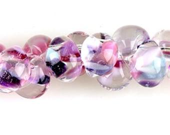 10 Teardrop Handmade Lampwork Beads - Exotic series First Love 13mm (TD-93)