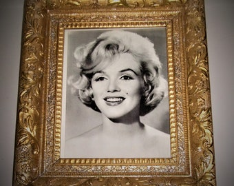 """Antique Victorian Hand Carved Wooden Picture Frame, Gold / Silver Flakes Floral Design, Marilyn Monroe Picture, 14 1/2"""" x 12 1/2"""" x 2"""""""