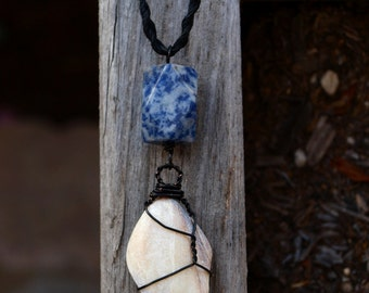 Beach Jewelry - Shell and Sodalite Necklace - Wirewrapped with Black Copper, Hemp Chain - Ecofriendly, Fair Trade, Men's, Woman's