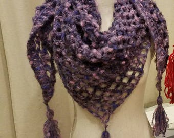 Purple Mohair Triangle Scarf or Shawl handmade crochet