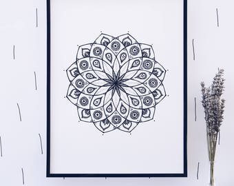 The mandala print, nature flower wall art illustration