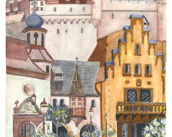 GERMAN TOWN SQUARE Painting Reproduction Print Unmatted Unframed Germany Europe European Wilkomen City Town Village Watercolor