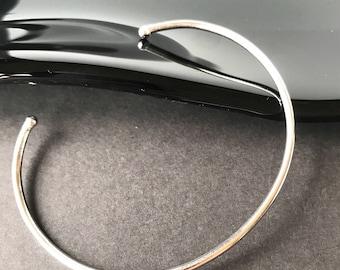 "Sterling Silver open cuff bangle bracelet simple lightweight modernist design 925 size 7.5"""