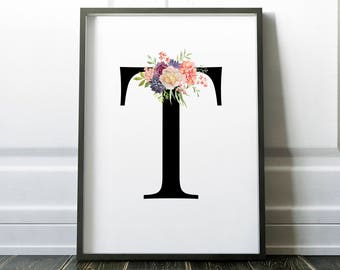 Letter T, Floral, monogram, Printable Letter,  Nursery Art, Art Prints, Baby Girl Nursery, Wall art Prints, Little Tiger Designs, Wedding