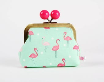 Metal frame coin purse with color bobble - Flamingoes in paradise - Color dad / Pink tropical bird / Mint green / Pink dots/ Jetsetter
