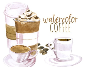 Watercolor Coffee Clip Art, Artistic Late Clipart, Cappuccino illustration, breakfast food clipart, coffee beans, hipster clipart,