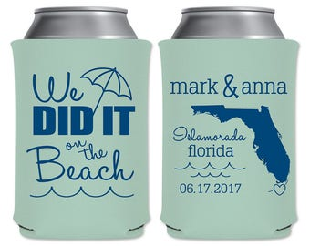 Beach Wedding Can Cooler Beverage Insulators Favors | We Did It On The Beach State Map | Summer Wedding Custom Can Holder | READ DESCRIPTION