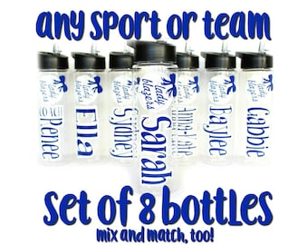 8 Personalized Water Bottles, Kids, Team Gifts, Soccer, Softball, Volleyball, Basketball, Group Discount, Bulk Ordering