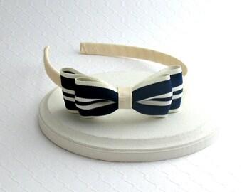 Navy and Ivory Hair Bow Headband ~ Girls Headband ~ Toddler Headband ~ Nautical Headband ~ Preppy Headband ~ Adult Headband