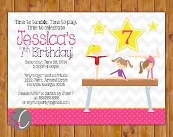 Gymnastic Party Invitation Tumble Gym Invite Personalized Gymnastic Balance Beam 3rd 4th 6th 7th 8th Birthday 5x7 Digital JPG (262)
