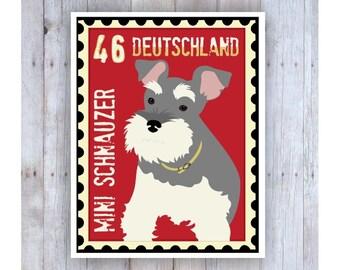 Miniature Schnauzer Art, Schnauzer Poster, Schnauzer Stamp, Stamp Art, Dog Stamp Art, French Stamp, Dog Poster, Dog Art, Dog Print