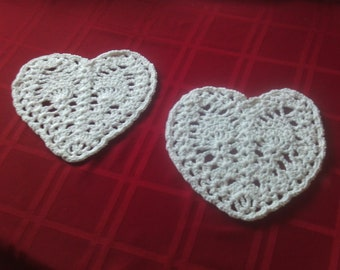 Set of 2,hearts,crochet,100 % cotton,sparkly,bags,afghans,lapghans,supplies,crafts