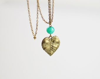 SALE! Pendant leaf metal brass with green bead glass // In The Forest // Rustic // Nature // Green, Fresh