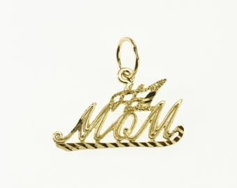 10k #1 Number One Mom Word Cut Out Charm/Pendant Gold