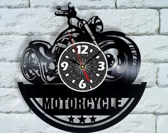 Motorcycle art, Biker wall decor clock bike decoration, bike ornament, motorcycle club bike clock bike gear art motorcycle nursery art vinyl