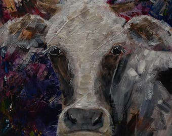 Colorful COW ORIGINAL PAINTING * Black and White Holstein Cow Wall Art on Stretched Canvas * Colorful Whimsical Cow Portrait