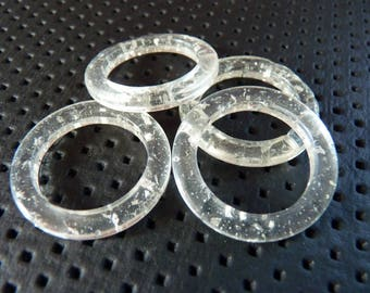 4 large rings clear plastic glittery diam 3 cm