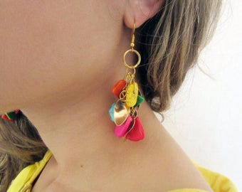 Colorful Statement Earrings, Turquoise Earrings, Bold Earrings, Boho Earrings, Big Long Earrings