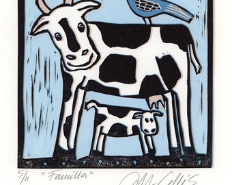 linocut, Family, printmaking, cow, calf, farm animals, bird, blue, light blue, nursery decor, girls room ,boys room, humor, country decor