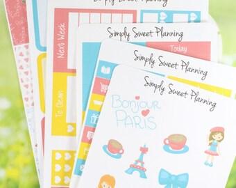 Paris Planner Sticker Kit - Happy Planner - Erin Condren - Plum Planner - Functional Stickers - Matte - Weekly Planner - Sticker Kit