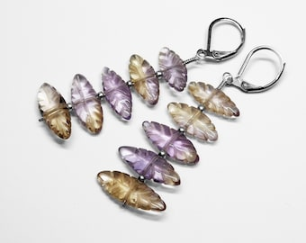 Carved Ametrine Earrings in Silver and Stainless Steel