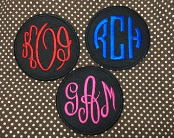 """Personalized  Custom Initials 3 Letter Monograms iron on patch, Circle , 2.75"""""""