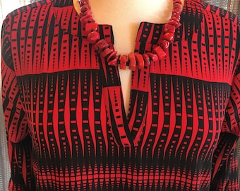 Custom Couture S Red and Black geometric tunic with red coral necklace 1389