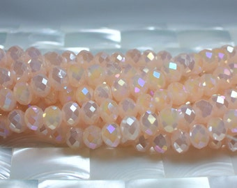 36pcs 8mm Chinese Crystal Glass Beads Rondelles Opaque Soft Pink/Peach Iridescent AB Jewelry Bead Strand Jewellery Craft Supplies