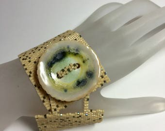 Hot Buttered Rum . Wide Peyote Bracelet Cuff Porcelain Artisan Made Button OOAK Bold Beadwoven Gift for Woman Mothers Day Gift Dark Cream