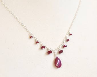Genuine Ruby Necklace- Sterling Silver Necklace- Red Rubies Necklace- Natural Ruby Necklace- Dainty Delicate Necklace- Silver and Rubies