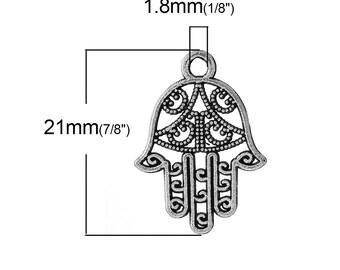 50 stuks. Antieke zilveren Hamsa Hand symbool charmeert Hangers - 21 x 15 mm