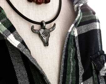 Bull Skull Necklace, Mens Leather Choker, Southwestern, Longhorn Steer, Cow Skull, American Cowboy, Unisex Jewelry