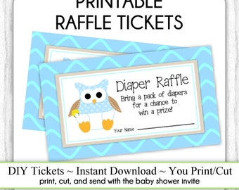 Diaper Raffle Tickets, Cute Owl Baby Shower, Printable Diaper Raffle Tickets, Baby Shower Raffle Tickets, YOU PRINT, DIY