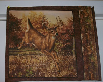 A Whitetailed Deer in the Wild Cotton Fabric Panel Free US Shipping