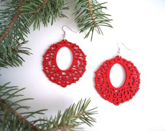 Laser Cut Earrings, Red Earrings, Christmas Earrings, Wooden Earrings, wreath Earrings, Lightweight Earrings, Stocking Stuffer, Gift