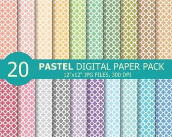 Pastel Quatrefoil Digital Paper , Pastel Quatrefoil Pattern Digital Papers , Scrapbook paper , 20 Rainbow Quatrefoil Background Image Print