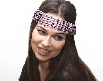 Pink Headband with Garnets, Crochet Hair Band by Solandia, Hair Accessories, Boho Chic, Energy Healing, bohemian fashion, january birthday
