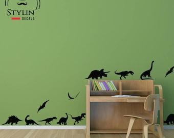 DINOSAUR WALL DECAL- Dinosaur Wall Art-Kids Room Wall Decal- Dinosaur Stickers-Play Room Decor- Boy's Bedroom Decor- Set of 13